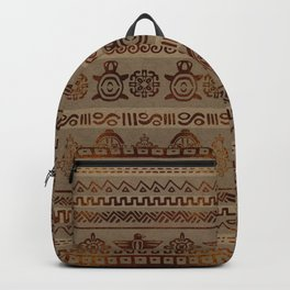 Maya / Aztec  pattern Burn gold on canvas Backpack