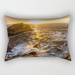 In Waves - Waves Crashing Into Rocks at Sunset In Big Sur Rectangular Pillow