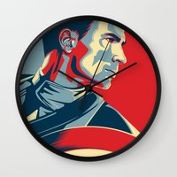avenger Wall Clocks featuring The First Avenger by Olivia Desianti