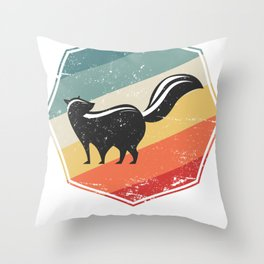 Skunk With Retro Color Throw Pillow