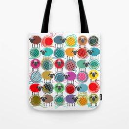 Bright Sheep and Yarn Pattern Tote Bag