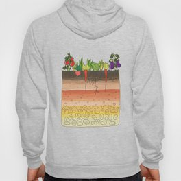 Earth soil layers vegetables garden cute educational illustration kitchen decor print Hoody