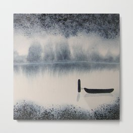 Boat on Ice 2 Watercolor Painting Metal Print