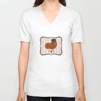 guinea pig V-neck T-shirts featuring Mr Guinea Pig by Jo Sharp