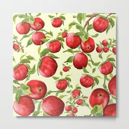 red apple in yellow background Metal Print