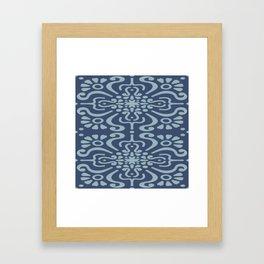 Light Blue On Dark Blue Boho Design Framed Art Print