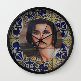 Spain 46 - Woman in Madrid with mosaic on the wall Wall Clock