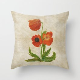 Vintage painting- Bunch of poppies Poppy Flower floral Throw Pillow