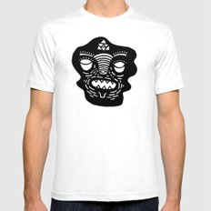 stencil face SMALL White Mens Fitted Tee