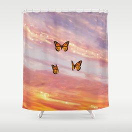 Butterfly Sunset Aesthetic Shower Curtain