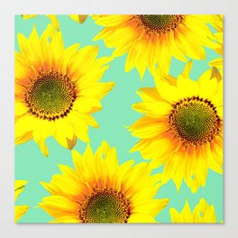 Sunflowers on a pastel green backgrond - #Society6 #buyart Canvas Print
