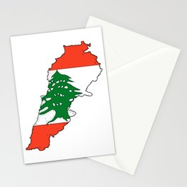 Lebanon Map with Lebanese Flag Stationery Cards