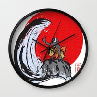 aang Wall Clocks featuring Aang in the Avatar State by Tom Ledin