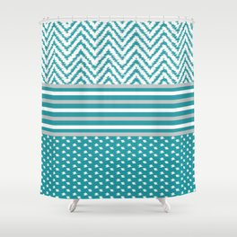 Ikat Aqua Chevron Shower Curtain
