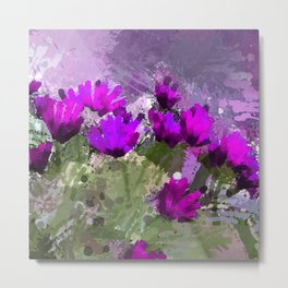 African Daisies With Wall Indigo Watercolor Metal Print