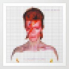 David Bowie : Aladdin Sane Pixel Art Print