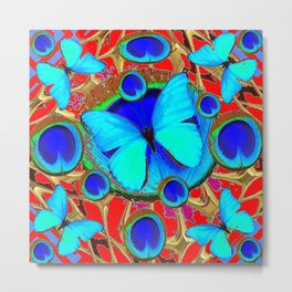 Red Fantasy Turquoise Butterflies Peacock Pattern Eyes Art Metal Print