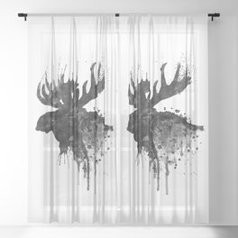 Black and White Moose Head Watercolor Silhouette Sheer Curtain