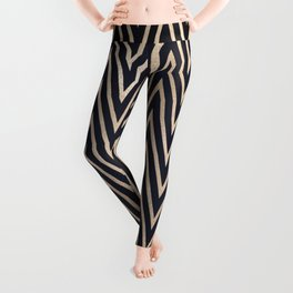 Navy Gold Chevron Pattern Leggings
