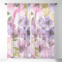 Pink Purple Watercolor Flowers Sheer Curtain