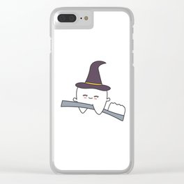 cute cartoon tooth with witch hat flying on toothbrush funny halloween illustration Clear iPhone Case