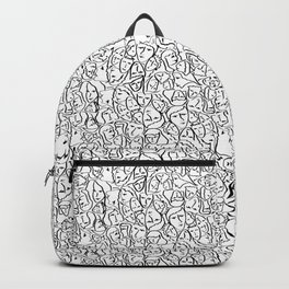 Mini Elio Shirt Faces in Black Outlines on White CMBYN Backpack