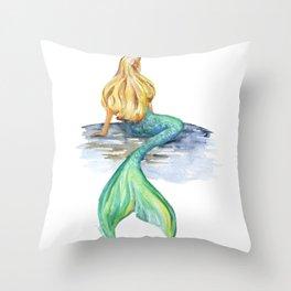 Mermaid Watercolor Throw Pillow