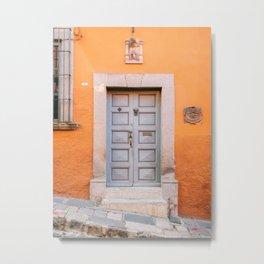 Orange and grey | The San Miguel de Allende Mexico door collection | Travel photography print Metal Print
