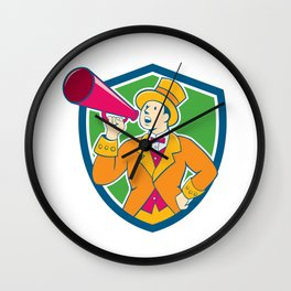 Circus Ringmaster Bullhorn Crest Cartoon Wall Clock