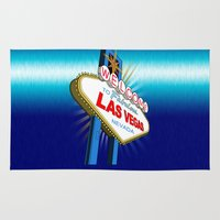 las vegas Area & Throw Rugs featuring Welcome to Las Vegas by Adamzworld