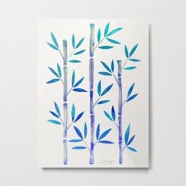 Bamboo Stems – Indigo Palette Metal Print