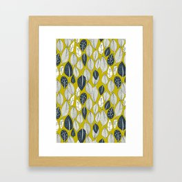 leaves and feathers chartreuse Framed Art Print