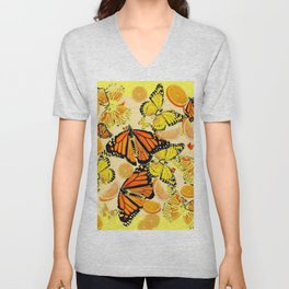 YELLOW MONARCH BUTTERFLY  & ORANGES MARMALADE Unisex V-Neck