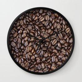 Roasted Dark Colombian Coffee Beans Wall Clock