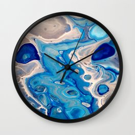Blue and Silver Fluid Abstract - Silver Lining Wall Clock