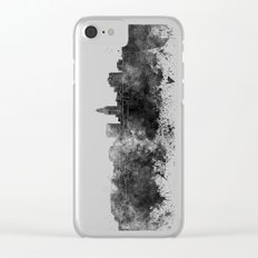Lincoln skyline in black watercolor Clear iPhone Case