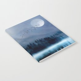 Mountainscape Under The Moonlight Notebook