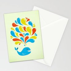 Colorful Swirls Happy Cartoon Whale Stationery Cards