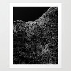 Cleveland map Ohio Art Print