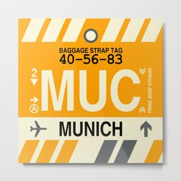 MUC Munich • Airport Code and Vintage Baggage Tag Design Metal Print