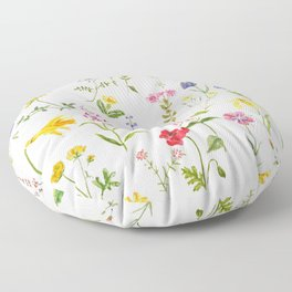 botanical colorful countryside wildflowers watercolor painting Floor Pillow
