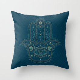 Hamsa Hand in Blue and Gold Throw Pillow