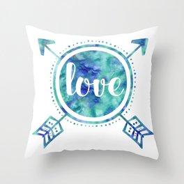 Blue Arrows Love Throw Pillow