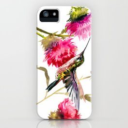Flying Hummingbird and Pink Flower iPhone Case