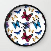 butterflies Wall Clocks featuring Butterflies by Katerina Izotova