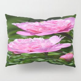 Pink Peony Pair Flower Photography - Bring the Outdoors In Pillow Sham