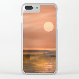 Boats in the fog Clear iPhone Case