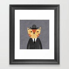 Ginger Cat in a Bowler Hat Framed Art Print