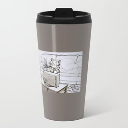 Up Up Down Down Left Right Left Right B A Start -- Greyscale Metal Travel Mug