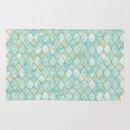 Luxury Aqua and Pink and Gold oriental pattern Rug